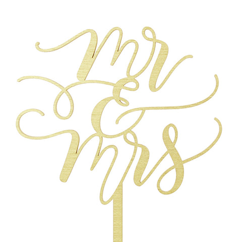 "CAKE TOPPER - GOLD ""MR & MRS"""