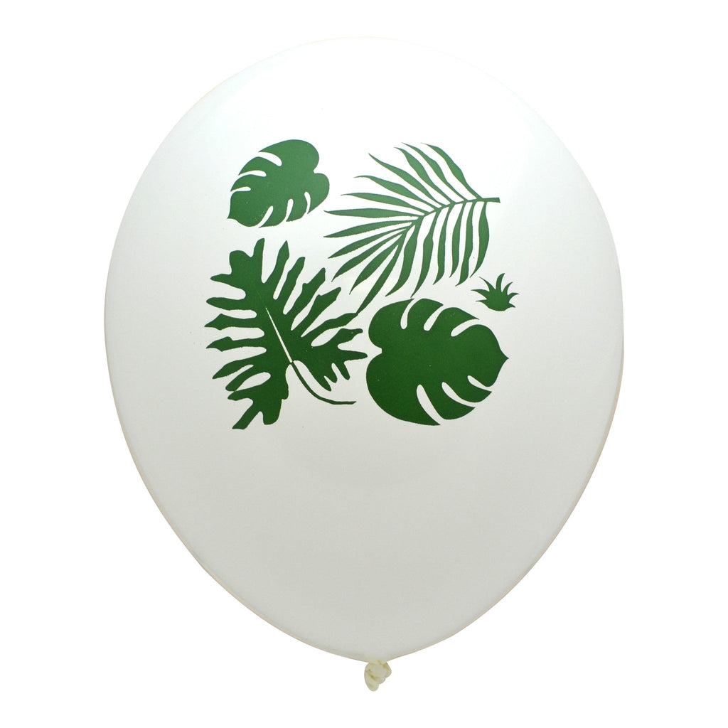 PRINTED BALLOONS - WHITE WITH GREEN TROPICAL LEAVES