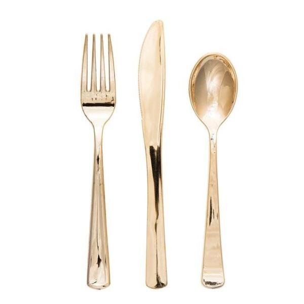 PREMIUM METALLIC PLASTIC CUTLERY SET - GOLD
