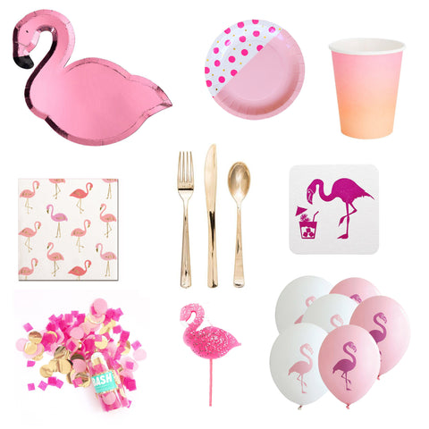 PINK FLAMINGO PARTY IN A BOX FOR 8