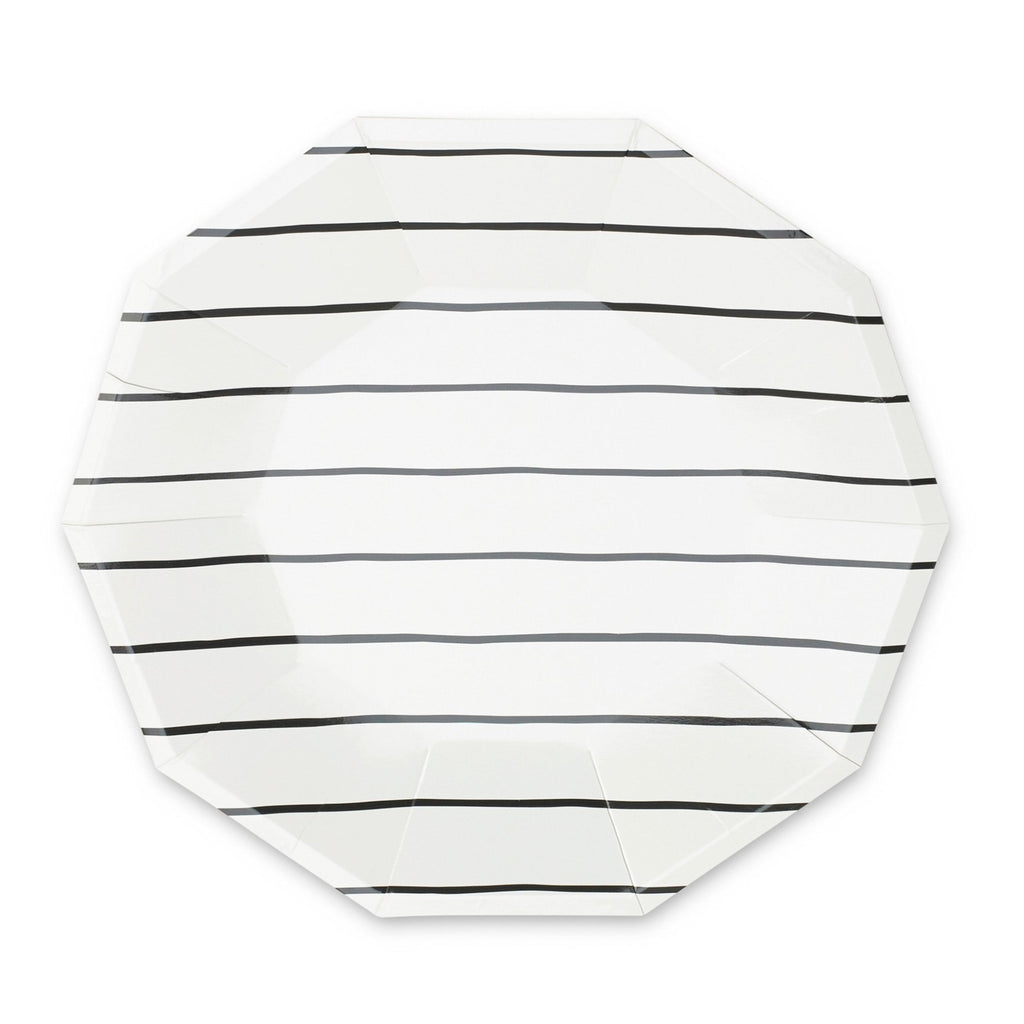 FRENCHIE STRIPED BLACK LARGE PLATES
