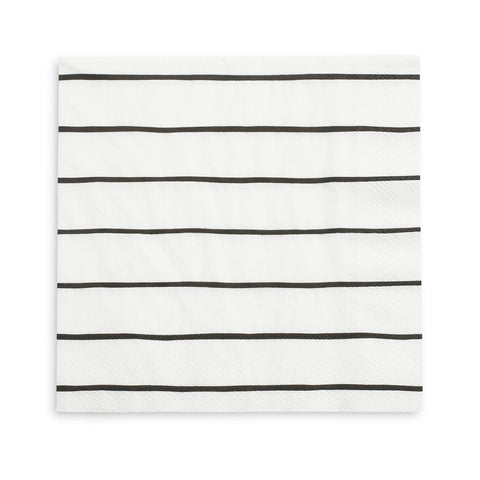 FRENCHIE STRIPED BLACK LARGE NAPKINS