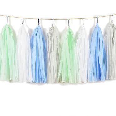 TASSEL GARLAND - BABY BLUE AND MINT