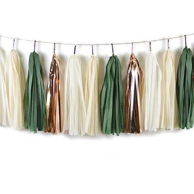 TASSEL GARLAND - EVERGREEN AND ROSE GOLD