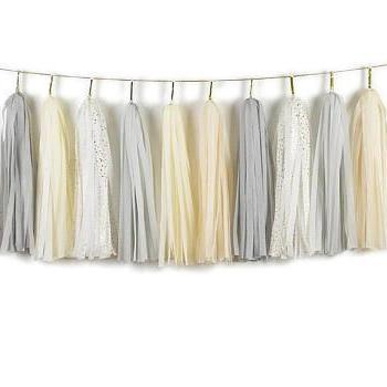 TASSEL GARLAND - GREY, CREAM AND GOLD SPECKLES