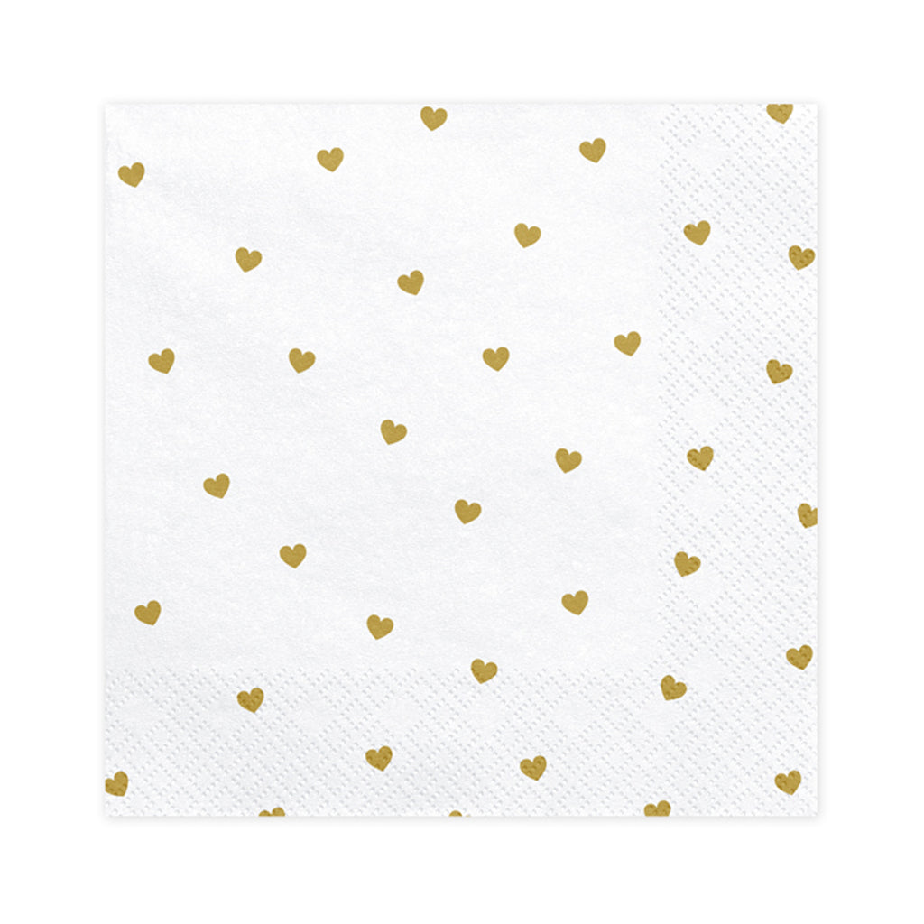 WHITE AND GOLD HEART PATTERN NAPKINS