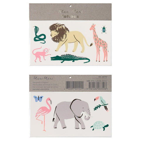 Safari animals themed temporary tattoos