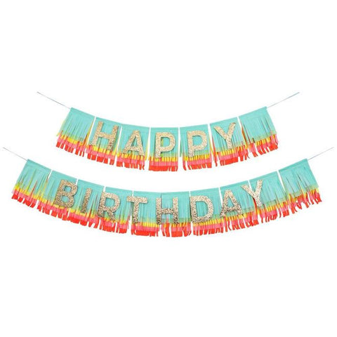 Rainbow Gold Glitter Happy Birthday Fringe Garland