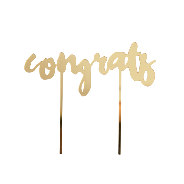 "CAKE TOPPER - GOLD MIRRORED ""CONGRATS"""