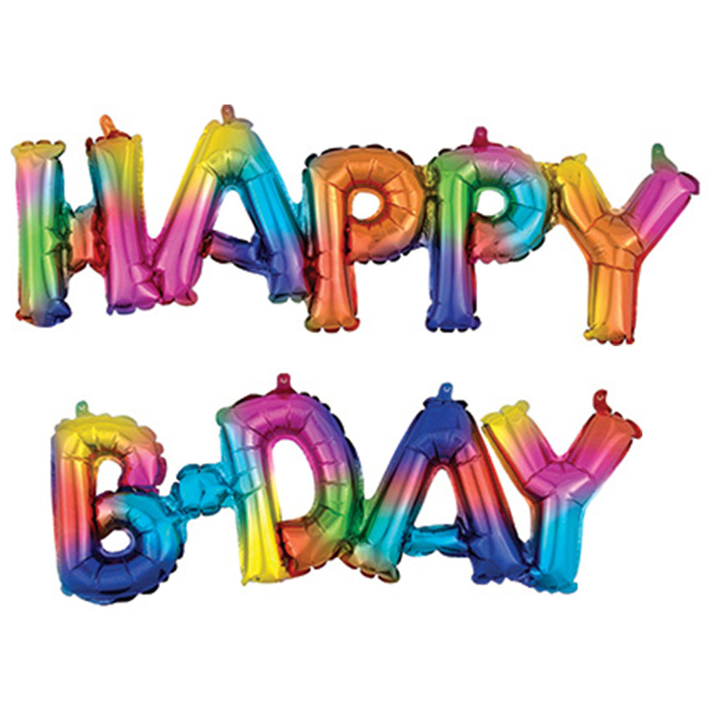 "RAINBOW SPLASH ""HAPPY B-DAY"" BLOCK LETTER BALLOON GARLAND"
