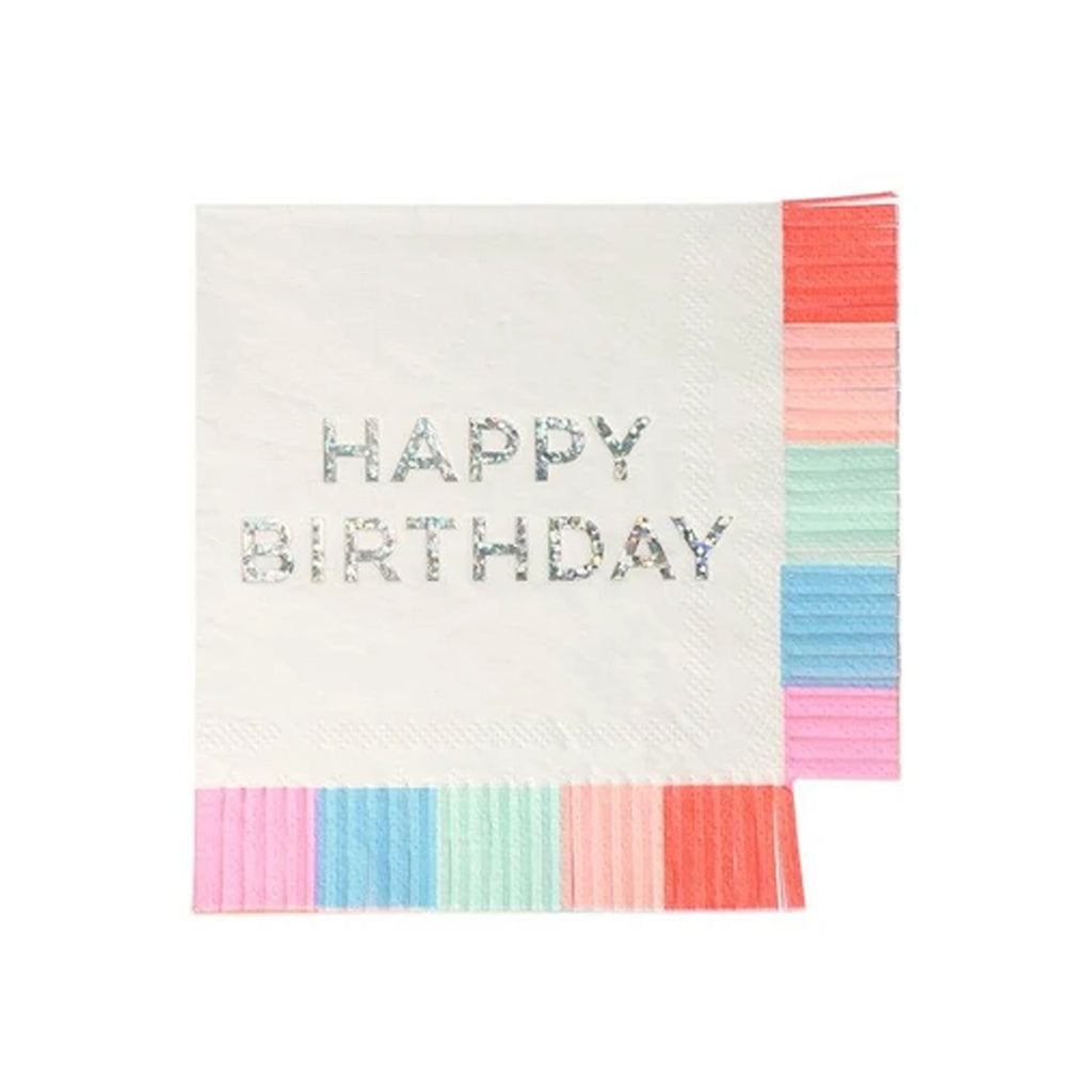 FRINGED HAPPY BIRTHDAY COCKTAIL NAPKINS