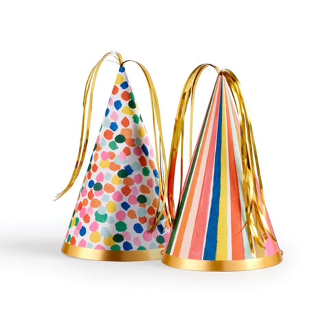 Feliz striped and spots party hats with gold fringe