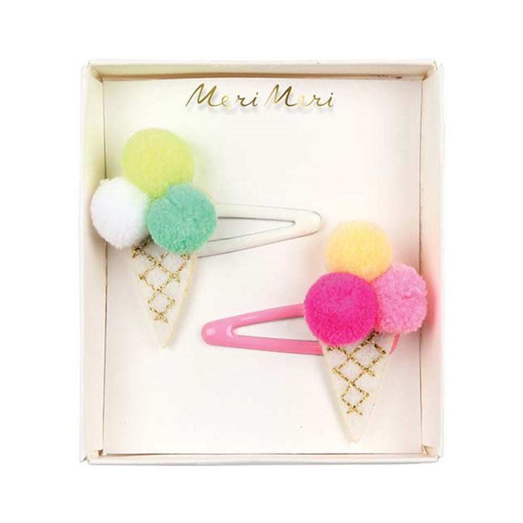 ICE CREAM POM POM HAIR CLIPS
