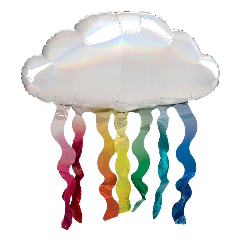 IRIDESCENT CLOUD WITH RAINBOW STREAMERS SUPERSHAPE FOIL BALLOON