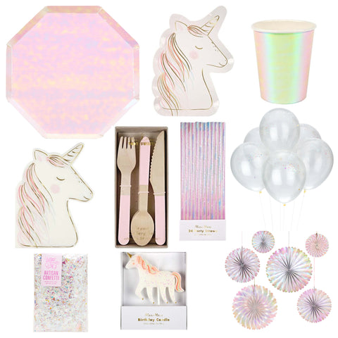 IRIDESCENT UNICORN PARTY BOX FOR 8