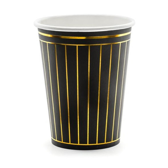 BLACK AND GOLD STRIPED CUPS