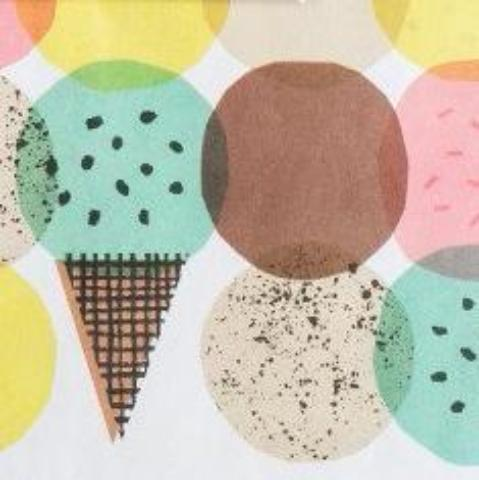 ICE CREAM NEWSPRINT WRAPPING PAPER FLAT PACK