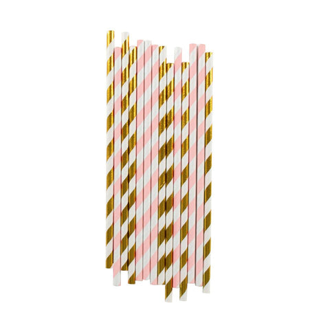 LIGHT PINK AND GOLD STRIPE STRAWS