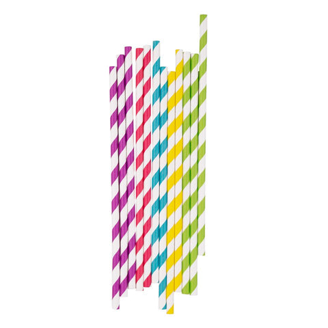 MIXED BRIGHT STRIPE STRAWS