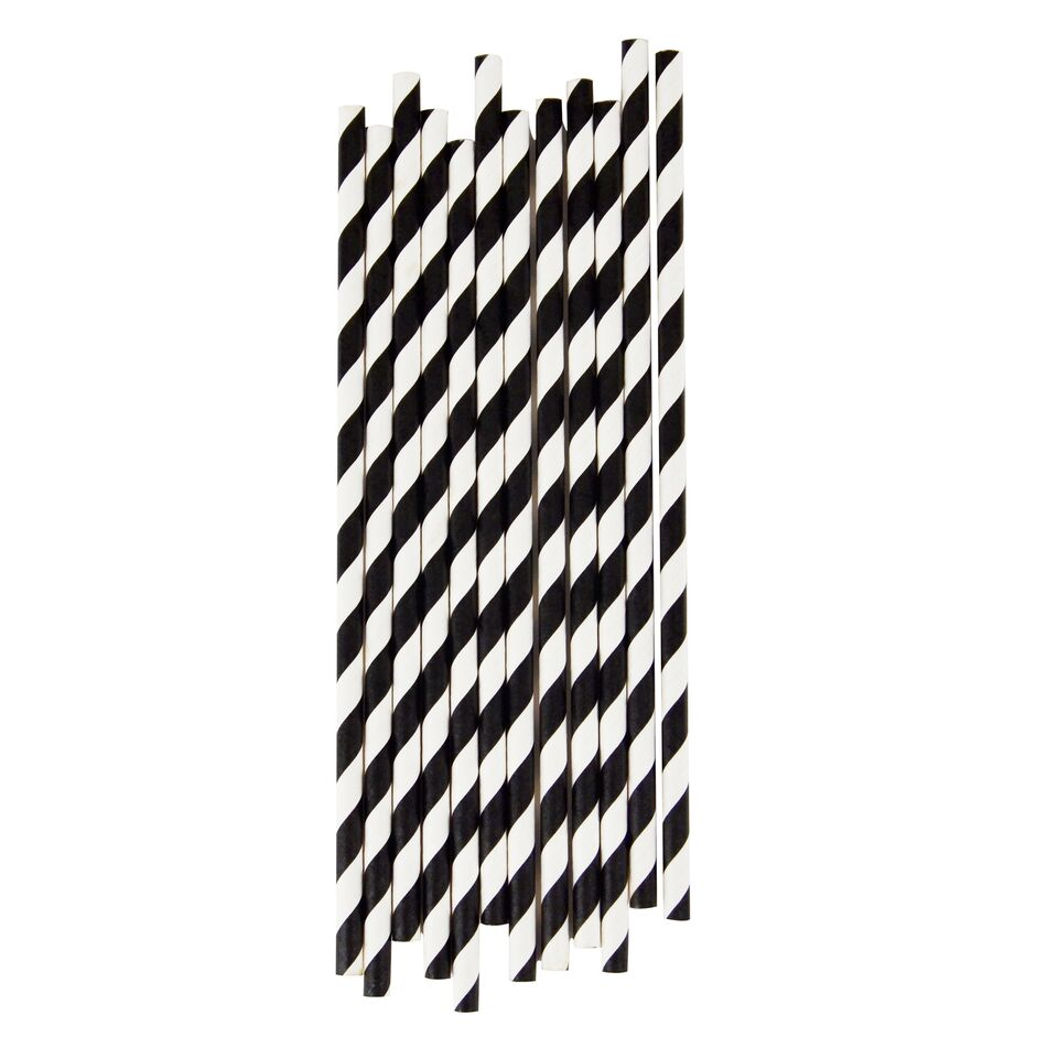 BLACK STRIPE STRAWS