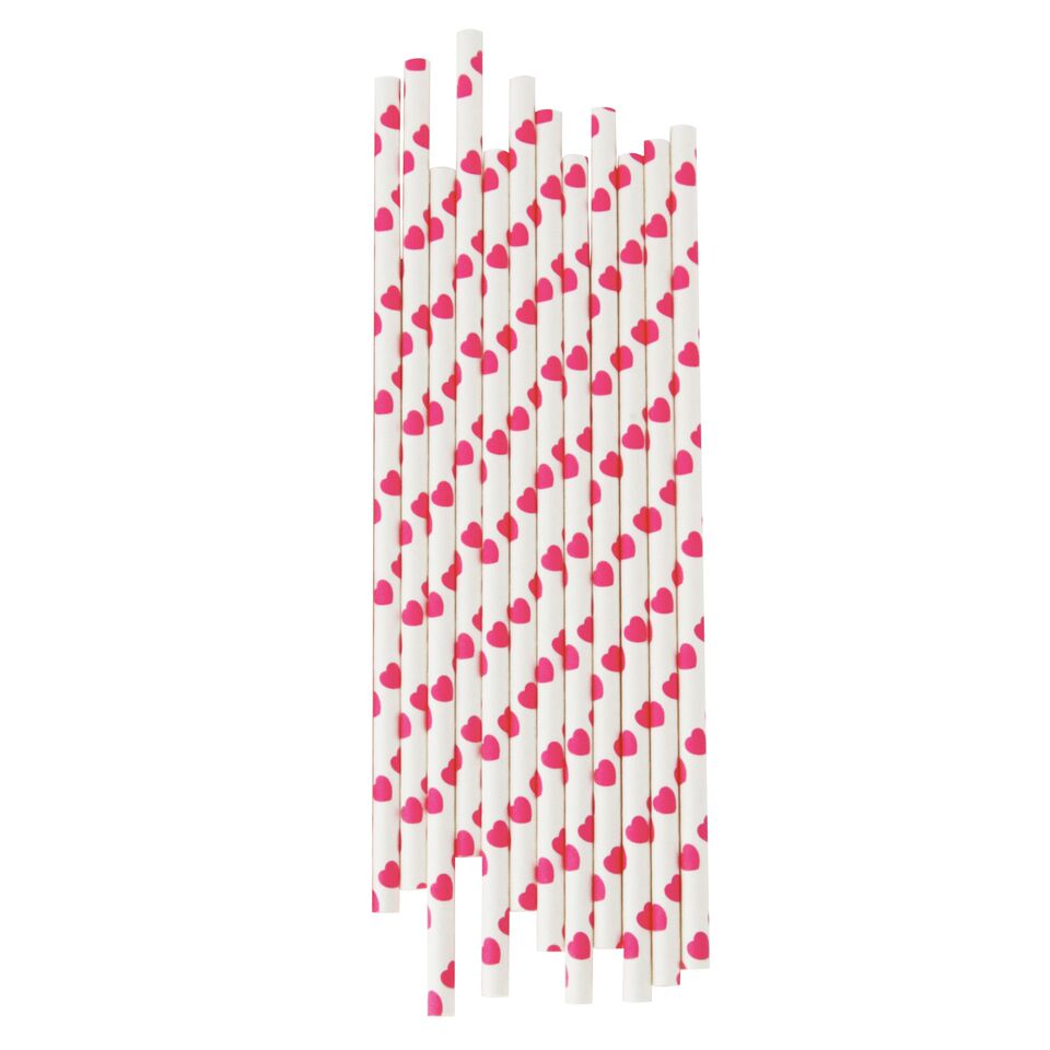 BRIGHT PINK HEARTS STRAWS