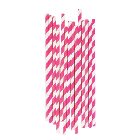 BRIGHT PINK STRIPE STRAWS