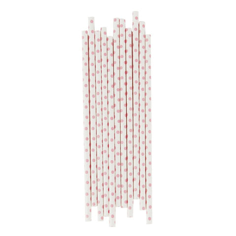LIGHT PINK POLKADOT STRAWS