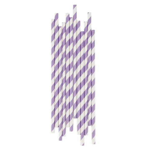 Lilac Striped Paper Straws