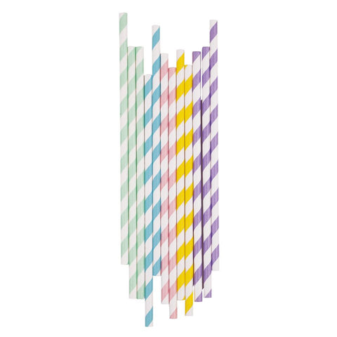 MIXED PASTEL STRIPE STRAWS