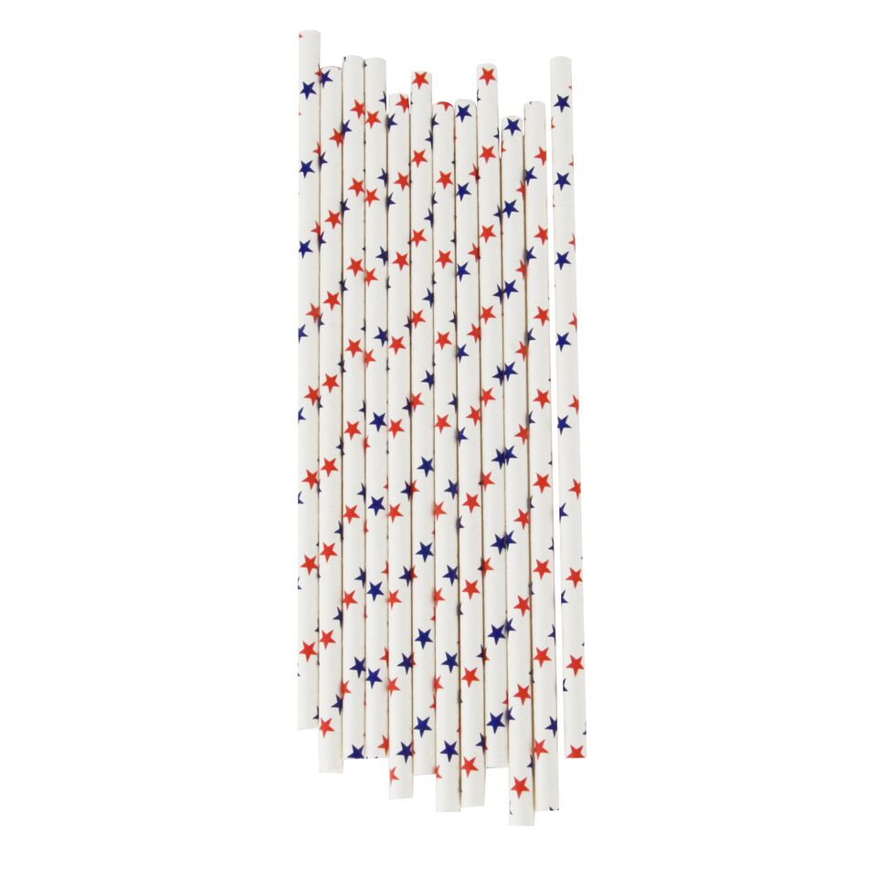 RED AND BLUE STARS STRAWS