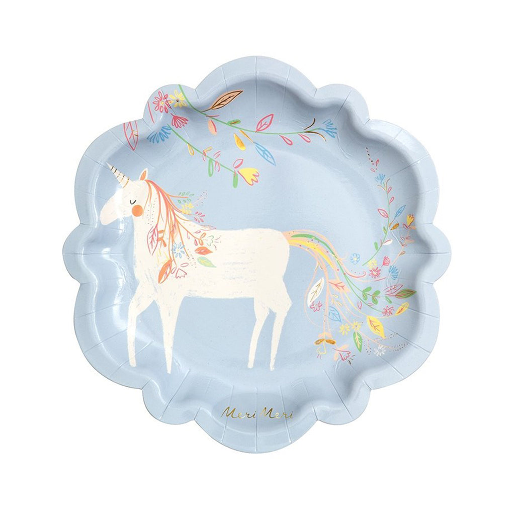 Magical princess unicorn party plates