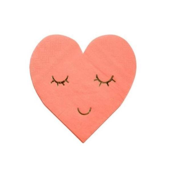 BLUSHING HEART DIE CUT COCKTAIL NAPKINS