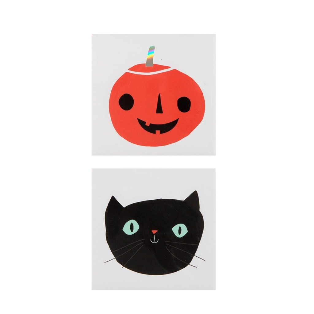 TEMPORARY TATTOOS - CAT AND PUMPKIN