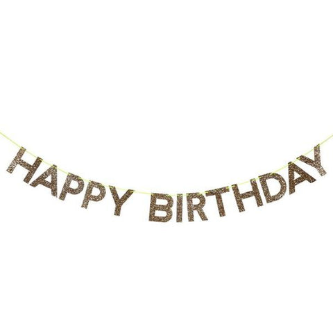 "GARLAND - GOLD GLITTER ""HAPPY BIRTHDAY"""