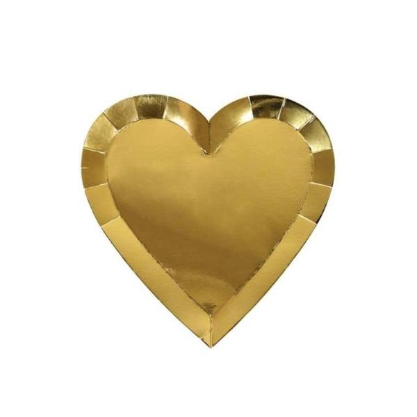 GOLD HEART DIE CUT SMALL PLATES