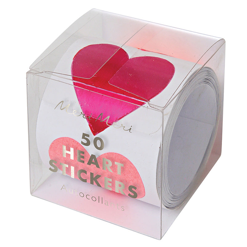 STICKER ROLL - LARGE FOIL HEARTS