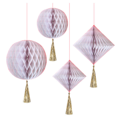 HANGING HONEYCOMBS - WHITE & NEON