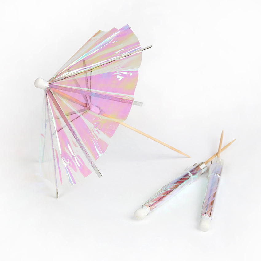 LARGE COCKTAIL UMBRELLAS - IRIDESCENT