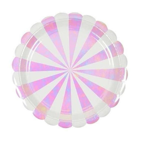 PINK IRIDESCENT STRIPE SCALLOPED LARGE PLATES
