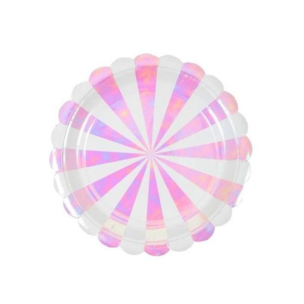 PINK IRIDESCENT STRIPE SCALLOPED SMALL PLATES