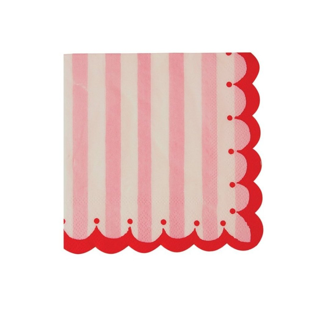 PINK STRIPED SCALLOPED COCKTAIL NAPKINS
