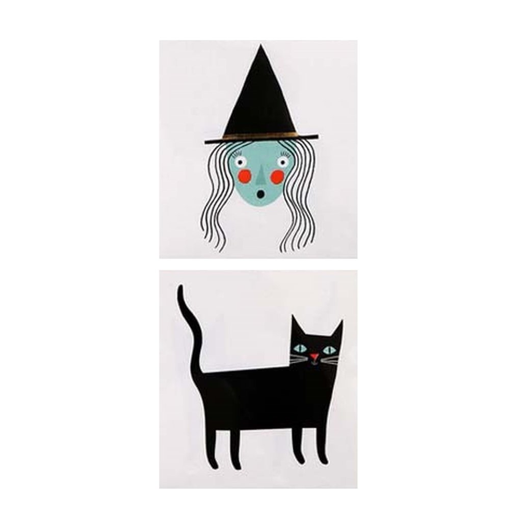 TEMPORARY TATTOOS - WITCH AND CAT