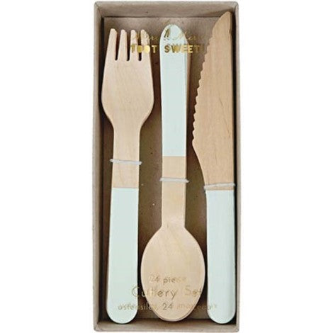 WOODEN CUTLERY SET - MINT