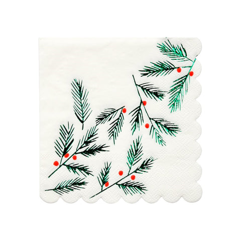 FESTIVE LEAVES AND BERRIES COCKTAIL NAPKINS