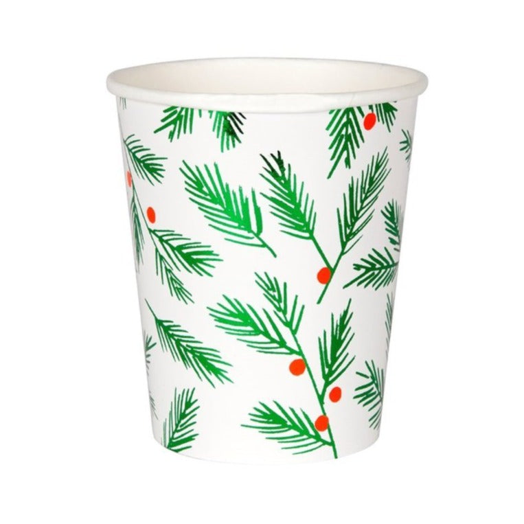 FESTIVE LEAVES AND BERRIES CUPS