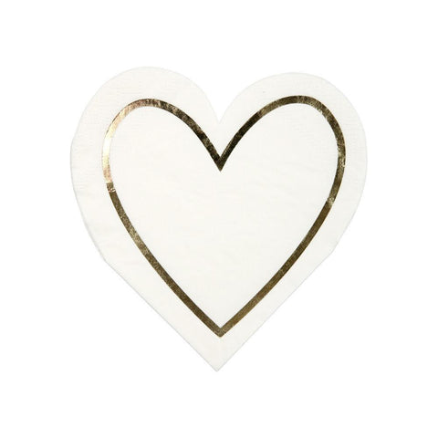 GOLD HEART DIE CUT COCKTAIL NAPKINS