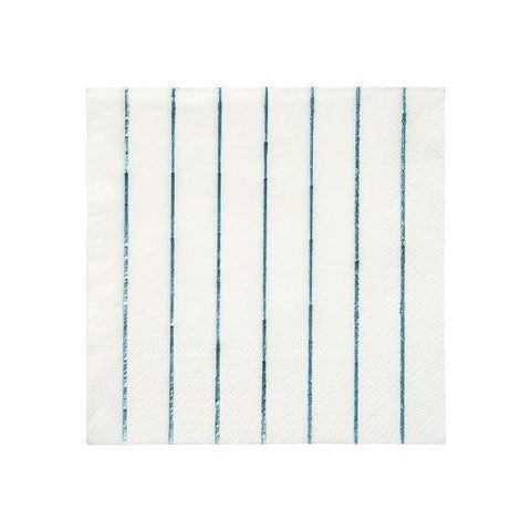 BLUE HOLOGRAPHIC STRIPED COCKTAIL NAPKINS