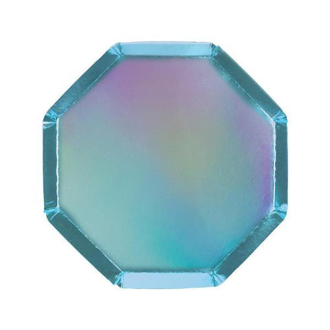 Blue Holographic Octagonal Party Plate Small