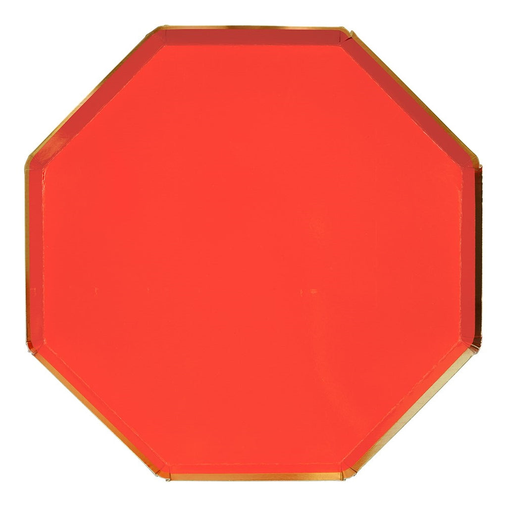 RED OCTAGONAL LARGE PLATES