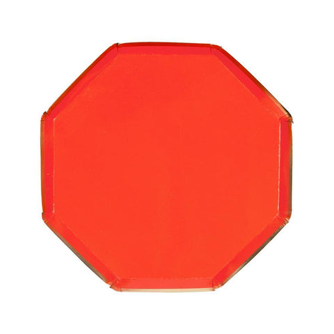 RED OCTAGONAL SMALL PLATES